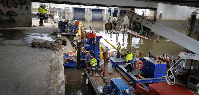 Pfahlrückbau Hafen Hamburg